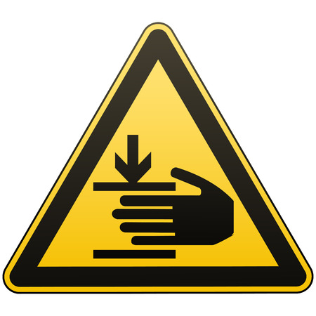 Caution, hands may be injured. Attention is dangerous. Warning sign. Security measures. Yellow triangle with a black image. Isolated object on white background. Vector illustration.