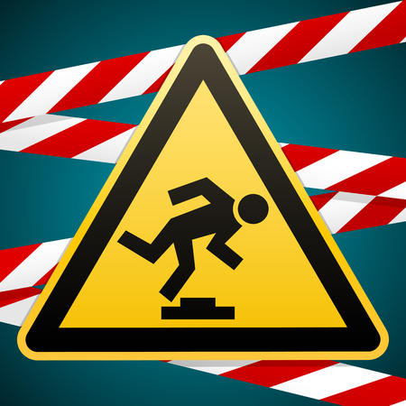 Caution, low-noticeable obstacle. Safety sign. Yellow triangle with black image on background of protective tape. Vector illustration.