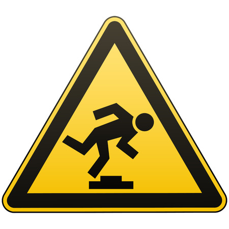 Caution unobtrusive obstacle. Safety sign. Measures to prevent danger in the workplace. Yellow triangle sign with black image. Isolated object. Vector illustration.