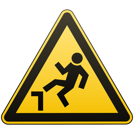 Caution, possible fall from height. Attention is dangerous. Warning sign. Security measures. Yellow triangle with a black image. Isolated object on white background. Vector illustration.