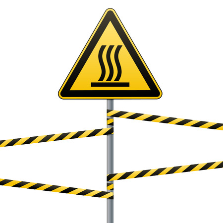 Safety sign. Beware of danger Hot surface. Barrier tape and sign on a pole with a striped ribbon. Yellow-black ribbon on a metal pole. White background. Vector illustration. Reklamní fotografie