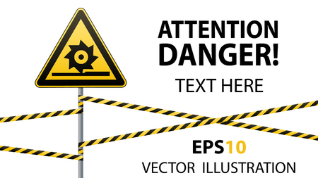 Caution, cutting shafts. Safety sign. Sign on pole with ribbons. Yellow triangle, metal pillar, protective tapes. Horizontal composition on white background and place for text. Vector illustration. Stock Illustratie