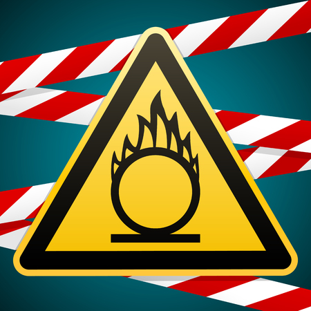 Caution oxidizer. Safety sign. Yellow triangle with black image on the background of protective tape. Signs and symbols in the industry. Vector illustration.
