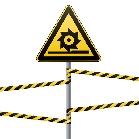 Carefully cutting shafts. Safety sign. The triangular sign on a pole with warning bands. Yellow sign with black image, metal pole, striped ribbon, white background. Signs and symbols. Vector