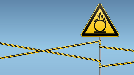 Caution oxidizer. Safety sign. Safety at work. Yellow triangle with black image, metal pillar, protective tapes. Sky background. Vector illustrations.