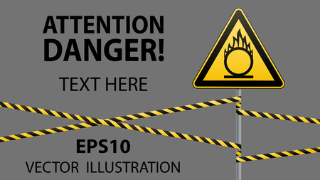 Caution oxidizer. Safety sign. Safety at work. Yellow triangle with black image, metal pillar, protective tapes. Isolated object. Gray background. Vector illustrations. Ilustrace
