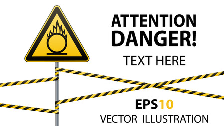 Caution oxidizer. Safety sign. Safety at work. Yellow triangle with black image, metal pillar, protective tapes. Isolated object. White background. Vector illustrations.