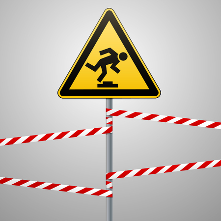 Caution, low-noticeable obstacle. Safety sign. Yellow triangle with black image on the pole and protecting ribbons. Gray background. Vector illustrations.