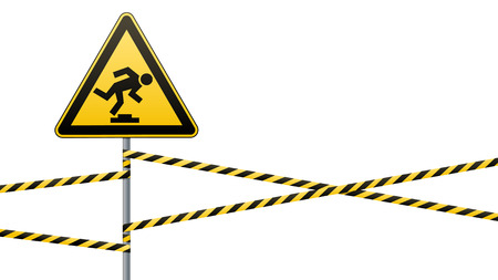 Caution, low-noticeable obstacle. Warning sign safety. Attention is dangerous. Yellow triangle with black image. Sign on the pole and protecting ribbons. Vector illustrations. Ilustrace