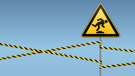Caution, low-noticeable obstacle. Safety sign. Yellow triangle with black image on the pole and protecting ribbons. Sky background. Vector illustrations.