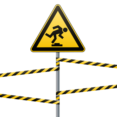 Caution, low-noticeable obstacle. Safety sign. Yellow triangle with black image on the pole and protecting ribbons. Vector illustrations. Ilustrace