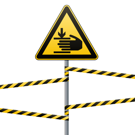 Caution, hands may be injured. Attention is dangerous. Warning sign safety. yellow triangle with black image. sign on the pole and protecting ribbons. White background. Vector illustrations.
