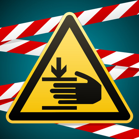 Safety sign.Caution, hands may be injured. Attention is dangerous. Yellow triangle with black image on the background of protective striped red-white tape. Vector illustrations.