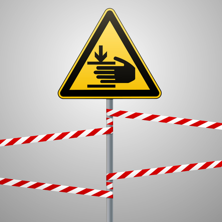 Caution, hands may be injured. Attention is dangerous. Warning sign safety. A yellow triangle with a black image. The sign on the pole and protecting ribbons. Vector illustrations. Reklamní fotografie