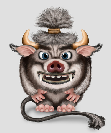 Imp. Funny monster with horns tail and pork snout. Little demon with big teeth. Fantasy character.