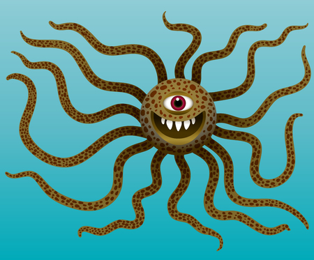 Funny monster with long tentacles in water. Cyclops mutant with teeth. Purple octopus alien. Character for Halloween. Vector illustrations. Ilustrace