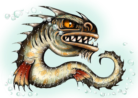 Sea monster water dragon fish mutant. Scary deep demon. Evil bloodthirsty character in Halloween. Color illustration.