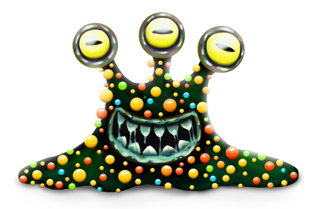 Funny and scary monster bacterium, cartoon childrens toy hero for Halloween, isolated on white background. Toothy, slobbering, many eyed character.