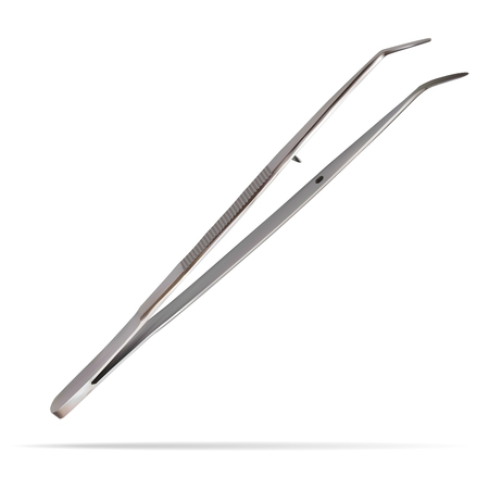 Dental forceps curved intended for use with various manipulations in the oral cavity. Medical hand tools for dentistry and surgery. Isolated realistic object on white background. Vector illustration.