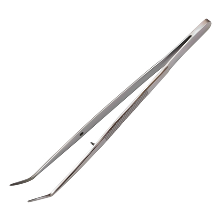 Curved metal tweezers for the dentist. Hand metal tool. Health and medicine. Realistic isolated object on white background. Vector illustration.