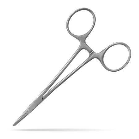 Hemostatic forceps, for a temporary stop of bleeding, have working sponges with a small notch and conical outer surface. Manual surgical instrument. Realistic vector illustration. Illustration