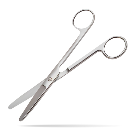 Scissors hinge straight with blunt ends, intended to cut the layers having a small thickness and a high regenerative capacity parietal pleura, peritoneum, muscles. Realistic Vector Illustrations