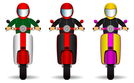 scooter drivers set. bikers and their scooters of different colors. front view. Isolated objects on white background. vector illustration.