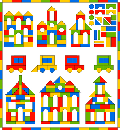 Game set of building blocks of different shapes and colors for children. Educational game to study the shape, color, development of imagination, thinking and fine motor skills. Vector illustration.