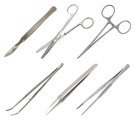 set of surgical instruments. Different types of tweezers, all-metal reusable scalpel, clip with fastener, straight scissors with rounded ends. Realistic isolated objects on white background. Vector illustration