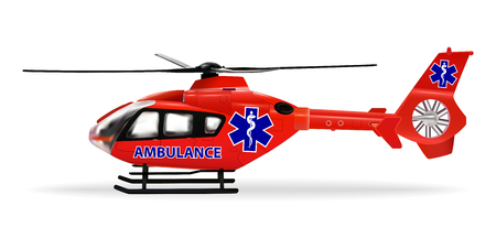 Air ambulance is a specially outfitted helicopter for emergency transportation of sick or wounded people. Red medical helicopter with ambulance emblem. Isolated object. Vector illustration. Ilustrace
