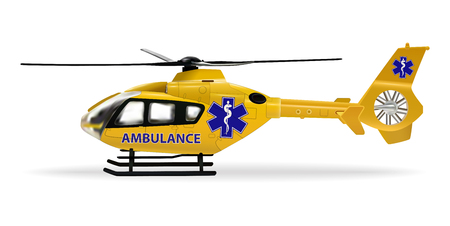 Ambulance helicopter. Air ambulance, air transport designed to transport sick or injured people over long distances. Yellow medical rescue helicopter. Vector illustration.