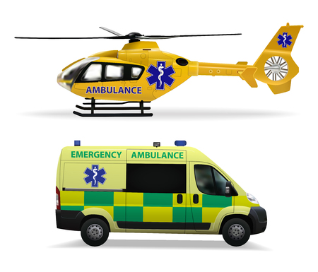 Emergency medical transport. Helicopter air ambulance and ambulance car. Realistic isolated objects on white background. Vector illustration. Ilustrace