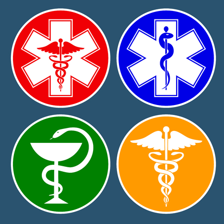 Set of medical international symbols decorated in a circle. Star of life, staff of Asclepius, caduceus, bowl with a snake. Isolated symbols on dark background. Vector illustration.