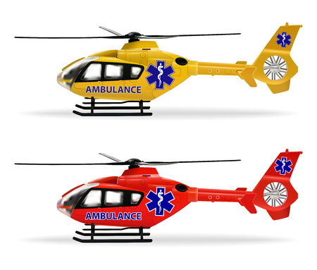 Helicopter emergency ambulance. Air ambulance. Small copters with different coloring. Realistic isolated objects on white background. Vector illustration.
