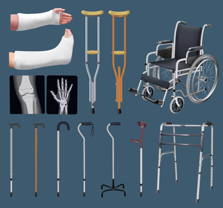 Set of objects of traumatology medicine. Treatment of musculoskeletal system. Gypsum tire, crutch, X-ray, wheelchair, cane different in design, walker. Isolated objects. Vector illustrations Illustration