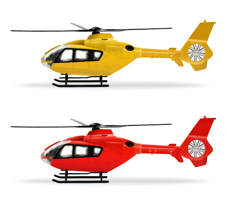Yellow and red helicopters. Small-sized passenger helicopter in different colors. Air Transport. Realistic isolated objects on white background. Vector illustration. Ilustrace