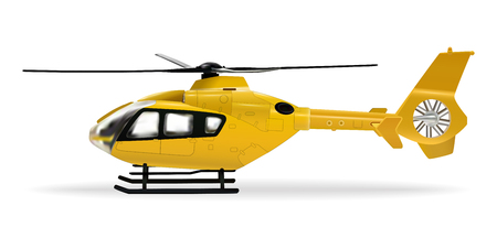 Yellow helicopter. Passenger civilian helicopter. Realistic object on a white background. Vector illustration. Ilustrace