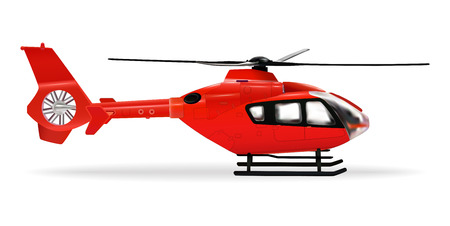 Red copter. Passenger civilian helicopter. Realistic object on a white background. Vector illustration