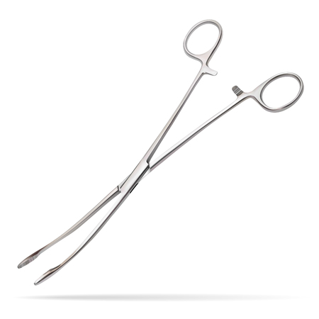 Forceps Meier. Surgical instrument designed to insert tampons into deep wounds, to remove foreign bodies from narrow deep wounds, to supply instruments and surgical material. Vector illustration.