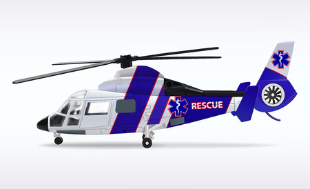 Ambulance helicopter. Medical sanitary aviation. Transport air rescue service. White and blue fuselage. Vector illustration.