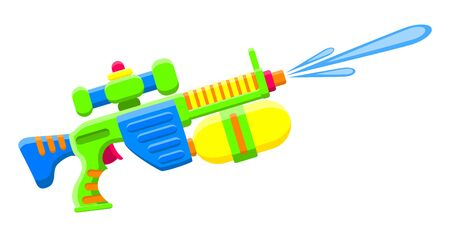 Shooting water gun. Bright multi-colored childrens toy. Isolated object. Flat vector illustrations on white background.