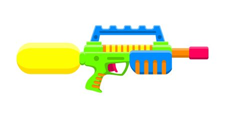 Water gun. Bright multi-colored children s toy. Isolated object. Flat vector illustration white background.