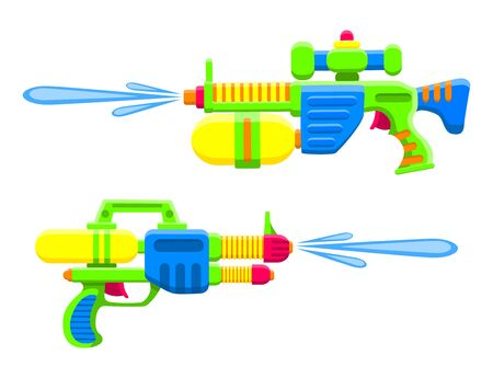 Water guns. Bright multi-colored childrens toys. Isolated objects. Flat vector illustration on white background.