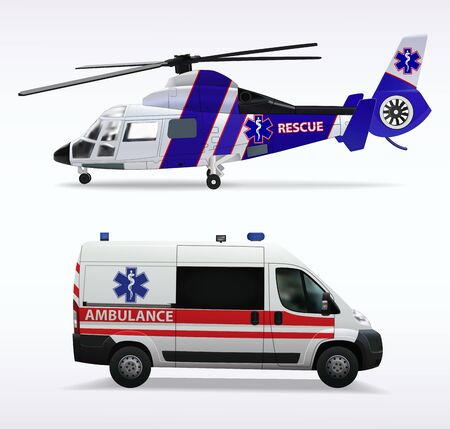 Ambulance helicopter and ambulance car. air and ground transportation to transport injured and sick people to the hospital. Isolated objects on white background. Vector illustration.
