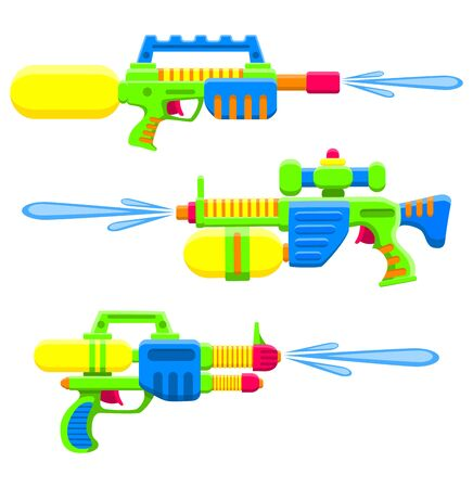 Water guns set. Bright multi-colored children s toys. Isolated objects. Flat vector illustration on white background.