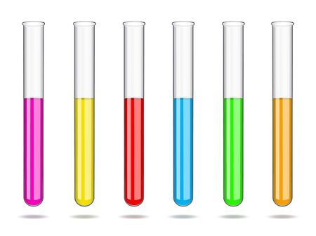 Set of glass laboratory test tubes with liquids of different colors. Laboratory studies in chemistry and biology, analyzes in medicine and pharmaceuticals. Vector illustration. Ilustrace