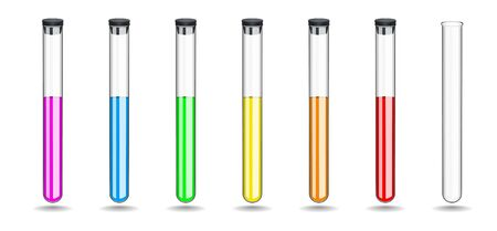 Set glass test tubes with a colored liquids, closing black rubber stopper. Chemical equipment for work in the laboratory. Vector illustration.