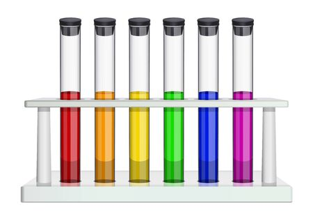 Glass laboratory test tubes with cork and multi-colored liquids. Test tubes in a laboratory rack. Special dishes for medicine, pharmaceptics, chemistry, biology, microbiology. Isolated object. Vector illustration