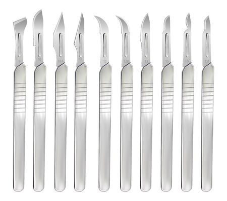 Set of scalpels with interchangeable blades of various shapes. Surgical operating hand tools. Realistic objects on a white background. Vector
