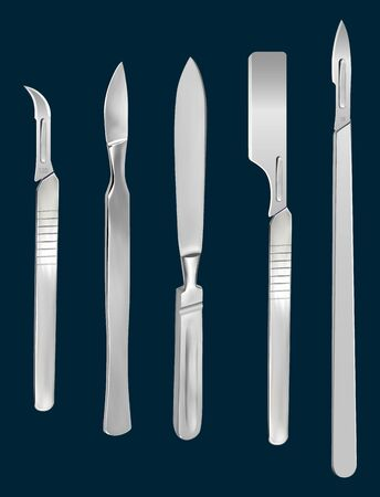 Set of surgical cutting tools. Reusable all-metal scalpel, scalpels with removable blades, Liston s amputation knife, scalpel with a blade for skin transplantation. Vector illustration.